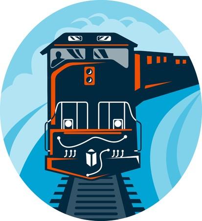 diesel train: illustration of a Diesel Train traveling on tracks straight up