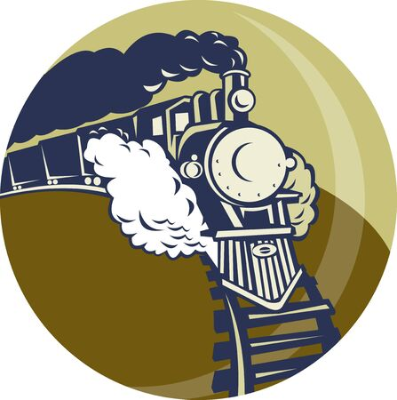 steam train: illustration of a Steam train or locomotive coming up set inside a circle