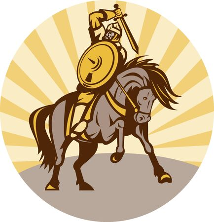 fullbody: illustration of a warrior with shield and sword on horse