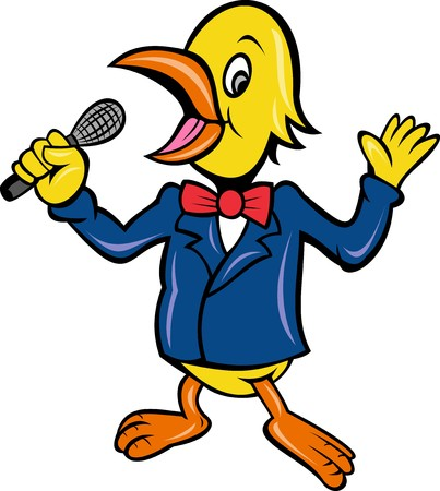 cartoon illustration of a bird singing karaoke with microphone in business suit isolated on white  illustration