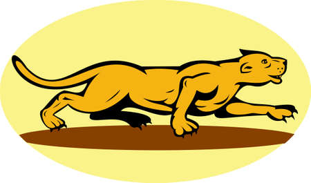 illustration of a puma or mountain lion prowling