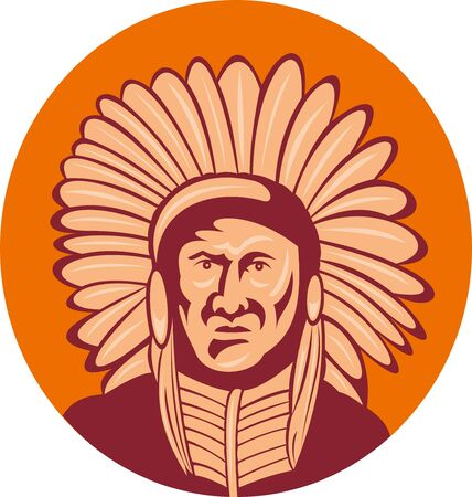 illustration of a native american indian chief facing front view. illustration