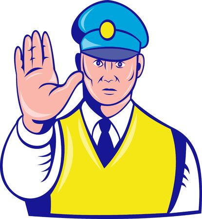 enforcer: illustration of a police officer holding hand up to say stop Stock Photo