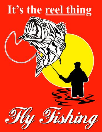graphic design illustration of ly fisherman catching largemouth bass with fly reel with text wording   its the reel thing and   fly fishingset inside a red rectangle done in retro style illustration