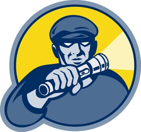 flashlight: illustration of a burglar holding a flashlight