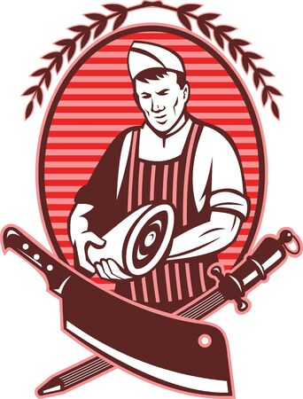 illustration of a Butcher holding leg of pork meat with butcher's knife and sharpening tool in foreground Stock Illustration - 7715566
