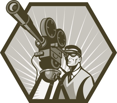 movie camera: illustration of a Vintage movie or television film camera and director viewed from a low angle done in retro style. Stock Photo