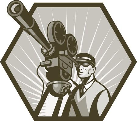 camara de cine: Ilustraci�n de una c�mara de pel�cula de cine o televisi�n de cosecha y director, visto desde un �ngulo bajo hecho en estilo retro. Foto de archivo