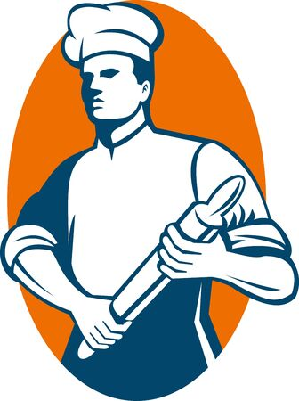 pék:  illustration of a Chef cook or baker standing with rolling pin done in retro style.
