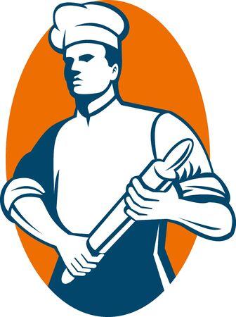 panadero:  Ilustraci�n de un Chef cook o baker permanente con rodillo hecho en estilo retro.  Foto de archivo