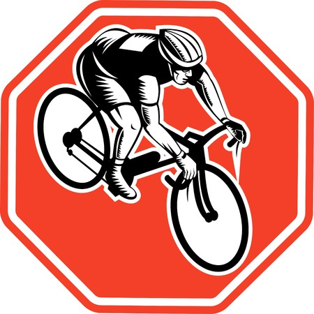 racing bike: illustration of a Cyclist racing bike set inside octagon viewed from high angle done in retro woodcut style