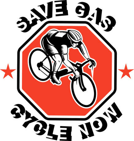 wpa: illustration of a Cyclist racing bike set inside octagon viewed from high angle done in retro woodcut style with text saves gas cycle now