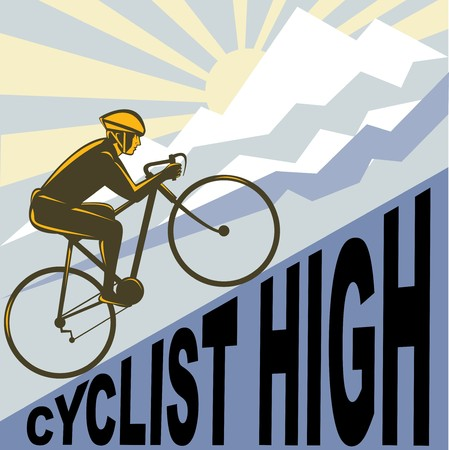 graphic design illustration of a Cyclist racing bike up steep mountain and clouds sunburst done in retro WPA style.