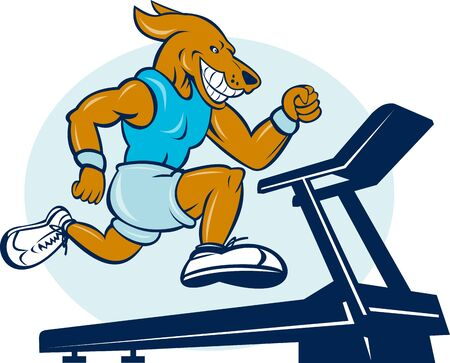 exercise machine: cartoon illustration of a Dog running on tread mill isolated on white background