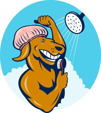 scrubbing up:  illustration of a Cartoon dog singing shower scrubbing with brush