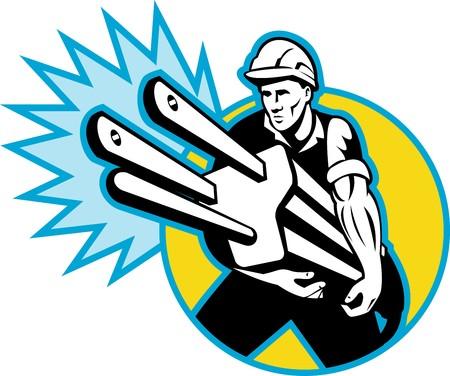 enchufe: Ilustraci�n de un electricista o liniero de poder llevar tap�n conjunto dentro de c�rculo con chispas aislado en blanco