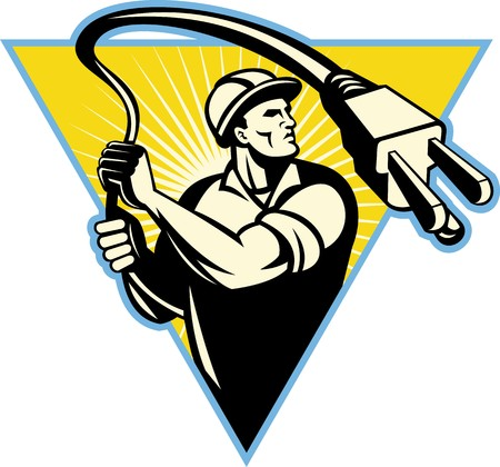 waist up: illustration of an Electrician holding electric plug like a lasso set inside a triangle with sunburst in background from waist up. Stock Photo