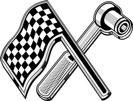 illustration of a checkered flag with socket wrench crossed illustration