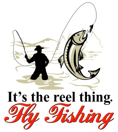 cartoon fishing: graphic design illustration of Fly fisherman catching trout with fly reel with text wording   its the reel thing and   fly fishing done in retro style