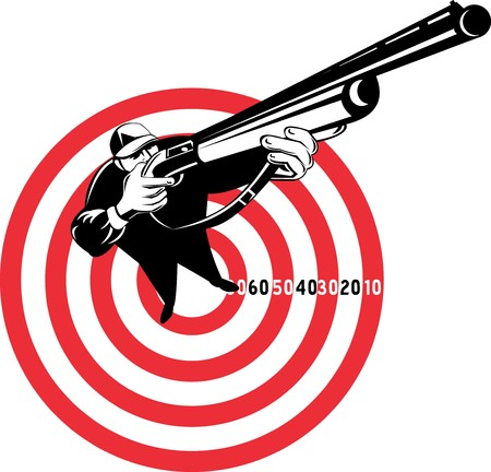 bull's eye: graphic design illustration of a Hunter aiming rifle shotgun with bulls eye in background viewed from a high angle