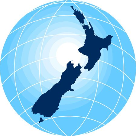new world: map of New Zealand with globe in background