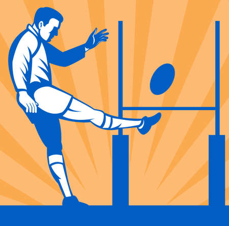 punt: illustration of a Rugby player kicking ball at goal post