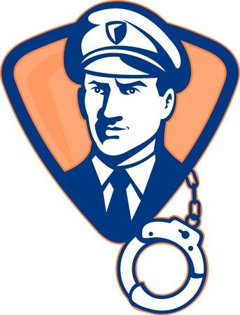 guardia de seguridad: Ilustraci�n de un guardia de seguridad o un oficial de polic�a con pu�o de la mano y escudo en segundo plano.