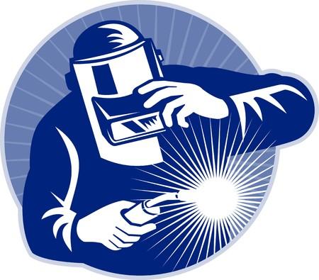 soldador: Soldador en el trabajo conjunto dentro de c�rculo realizado en estilo retro de soldadura.