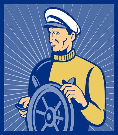 capitan de barco: Capit�n de barco en el tim�n de hecho hecho en estilo retro