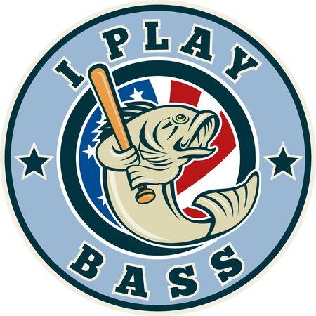 largemouth bass: Ilustraci�n de una caricatura Micropterus bajista b�isbol con el bate y la bandera de estrellas y franjas americano encerrada en c�rculo con palabras Juego bajo