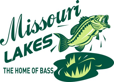 largemouth bass: illustration of a largemouth bass jumping with words missouri lakes home of bass Stock Photo