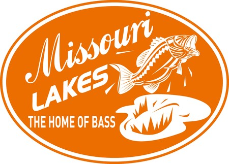 largemouth bass: illustration of a largemouth bass jumping with words  missouri lakes home of bass