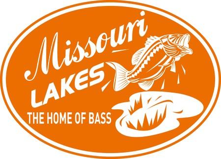 largemouth bass: Ilustraci�n de un salto de Micropterus bajo con palabras de lagos de Misuri casa de bajo