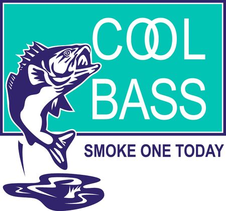 largemouth: illustration of a largemouth bass jumping with words cool bass and smoke one today done in retro style