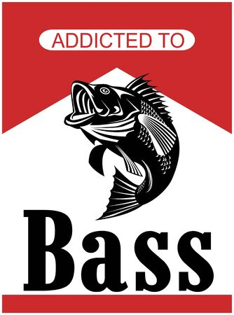 largemouth bass: illustration of a largemouth bass jumping with words addicted to bass done in retro style Stock Photo