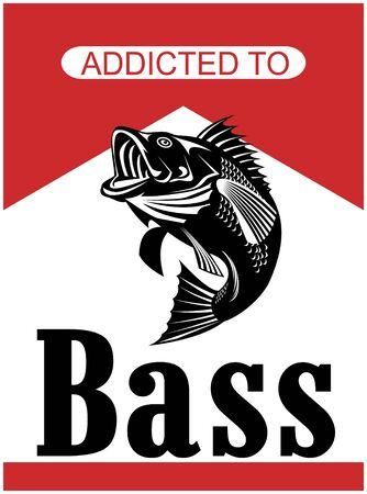 largemouth bass: Ilustraci�n de un salto de Micropterus bajo con las palabras adictos al bajo hecho en estilo retro  Foto de archivo