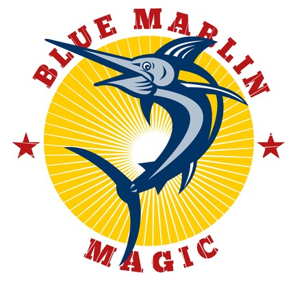 illustration of a blue marlin jumping with sunburst and words  blue marlin magic  illustration
