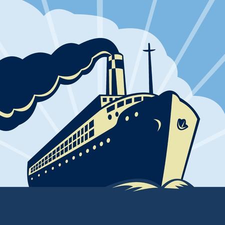 ferry boat:  illustration of an Ocean liner boat ship at sea