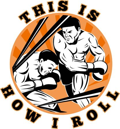 knockout: illustration of a Boxer connecting a knockout punch set inside a circle with words this is how i roll Stock Photo