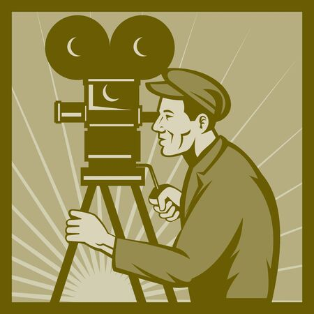 filmmaker: illustration of a Vintage movie or television film camera and director viewed from a low angle done in retro style. Stock Photo