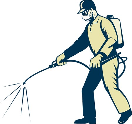illustration of a Pest control exterminator worker spraying side view illustration