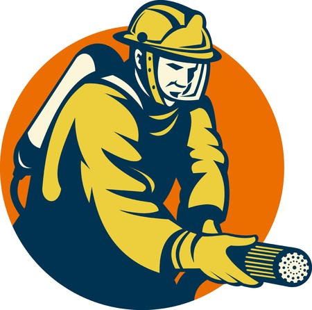 illustration of a Firefighter or fireman aiming a fire hose set inside a circle done in retro style Stock Illustration - 7997689
