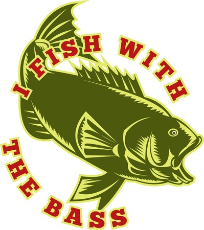 illustration of a largemouth bass fish jumping with words