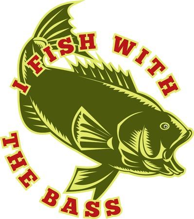 largemouth bass: Ilustraci�n de un pez de Micropterus bajo, saltar con las palabras pescan con el bajo hecho con estilo retro grabado