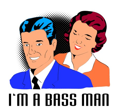 im: retro style illustration of a man and wife with words im a bass man with halftone dots background Stock Photo