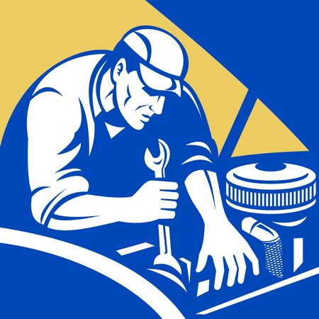 automobile industry: illustration of a Automobile car repair mechanic with spanner set inside a square format.