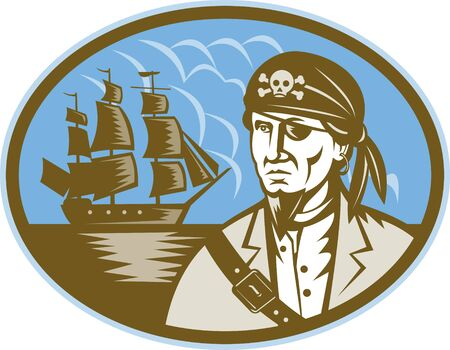 illustration of a Pirate with sailing tall ship in background done in woodcut style illustration