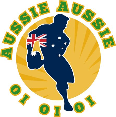 aussie: Illustration of a rugby player running passing ball with flag of flag of australia