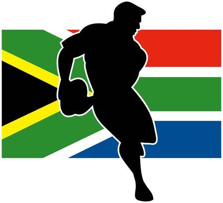 pelota rugby: Ilustraci�n de un jugador de rugby que ejecutan bola de paso con la bandera de Sud�frica en segundo plano