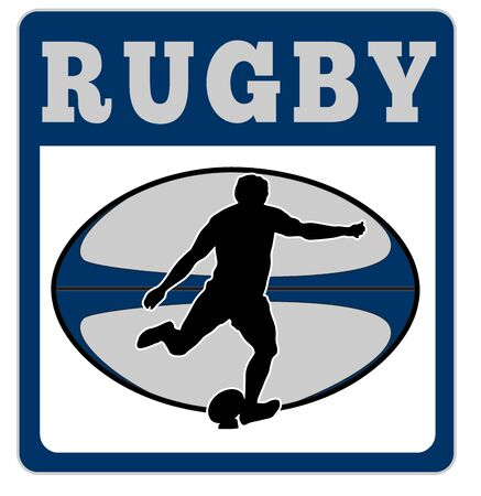 illustration of a rugby player kicking ball with ball in background with words